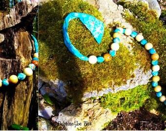"Blue necklace ""Fabrics flower balls"""