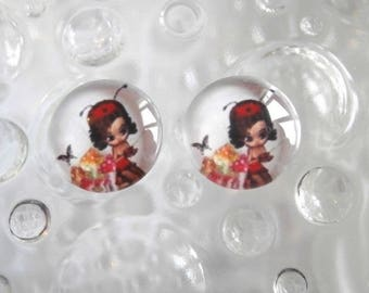 2 glass cabochons 12 mm for loop or ring miss Ladybug theme