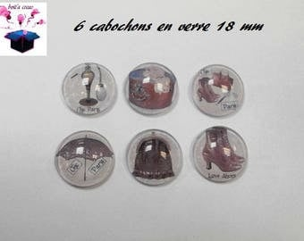 6 glass cabochons 18 mm theme year 1900 number 7