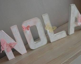 First 4 letters in papier mache 20cm, nursery decor kids / christening / birthday