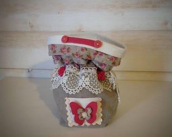 Romantic pouch linen & old lace