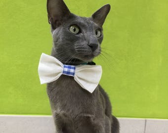 Bow tie for cat - sparkling white