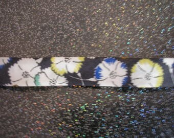 Ribbon Liberty black with white flowers 10 mm
