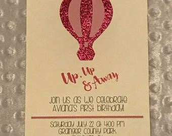 Up, Up & Away Hot Air Balloon Birthday Invitation