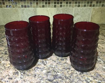 4 tumblers 16oz ruby red bubble glass Anchor Hocking