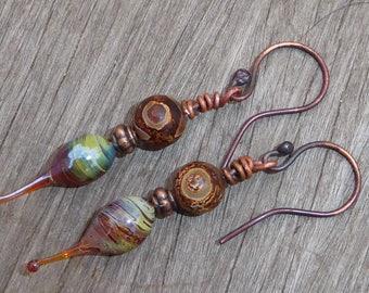 Bohemian earrings glass handmade Lampwork, lampwork and copper