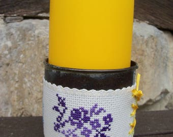 Cache pot or candle holder cross stitch pattern