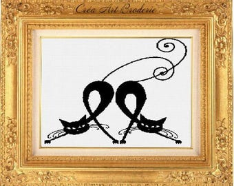 Counted cross stitch pattern monochromatic cats