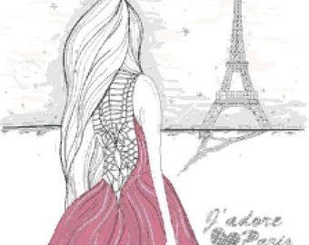Paris Eiffel Tower counted cross stitch