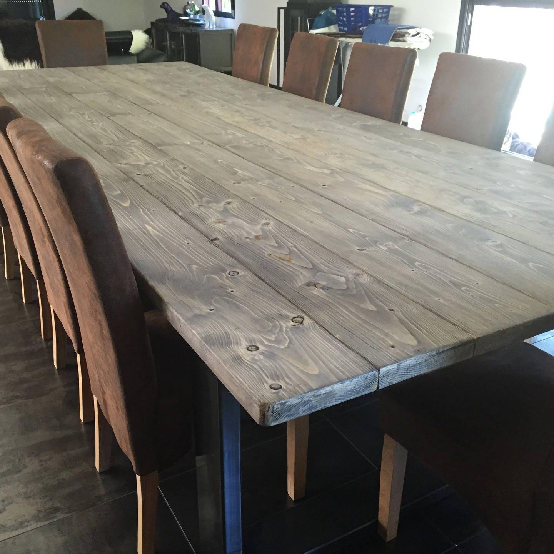 Table de salle manger xxl style industriel pied en acier for Salle a manger xxl