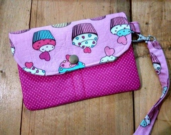 Cup Cake Mini Wallet,Pink Mini Wristlet,Mini Clutch For Girl,Mini Wallet For Ladies,Free Shipping