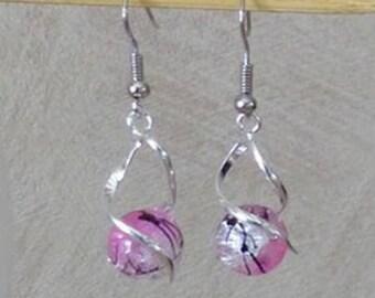 Fantasy, spiral earrings, earrings pink earrings, fuchsia, purple