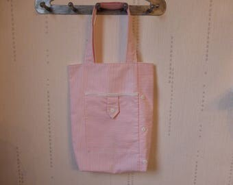 Bag child tote bag striped pink and white