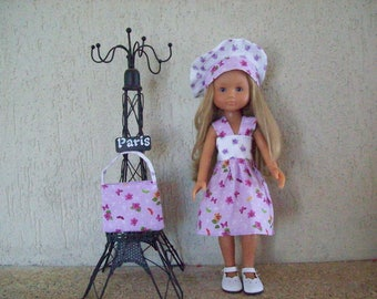 clothes for dolls 32/33 cm (dress, beret, bag) printed with flowers tone Parma