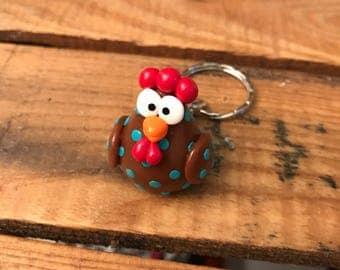 Chicken polymer clay keychain