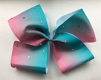 CamisCottonCandy Giant Bow - Turquoise and Pink Ombre