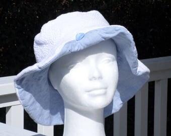 Summer Sun Hat women cotton white and blue