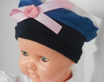 bonnet béret chapeau bébé fille cadeau naissance lin'eva kids velours rose et bleu