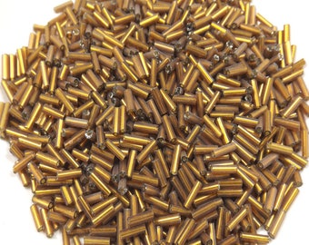 20 g de Perles de Rocaille +/- 6mm 6x2mm Tubes en Verre Marron Pérou Intérieur Argenté