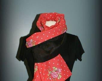 Etole  foulard  écharpe cheich Rétro Des petits pois roses