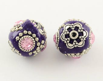Perle Indonesian polymer clay decorated with Rhinestones ø19mm * individually *.