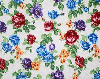 Jewel Roses on Ivory Cotton Jersey Blend Knit Fabric **UK Seller**