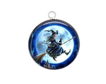 Cabochon resin cameo, 20 or 25 mm, Halloween, witch, broom, Moon light