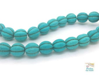 10 blue turquoise Howlite gem was (ph198) 10mm round beads