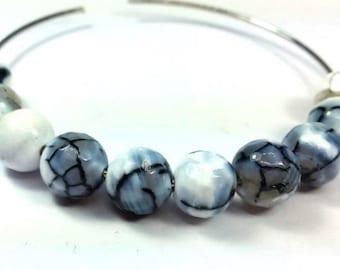 10 white veins agate beads black/grey/blue, 8mm (pg142)