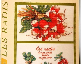 "Diagram sting & Spike ""Radishes"" stitch counted embroidery garden vegetables to embroider card"