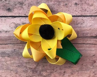 Sunflower Sculpture Hair Bow