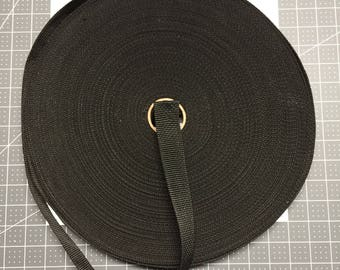 1 1/4 Inch Black Heavy Nylon Webbing  10 Yards