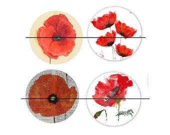 25 mm gorgeous set of 4 glass cabochons to glue 25 mm Coquelicot4