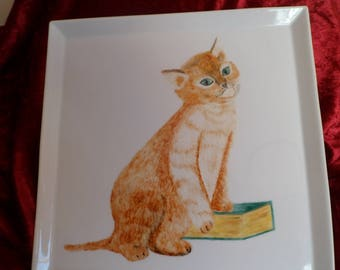 cake dish or pizza cat pattern