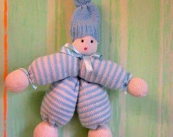 Knitted blanket - blanket - wool blanket - marionette puppet - marionette plush - cuddly blanket - newborn gift