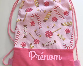 Personalized kid's backpack or nursery bag for nursery school or nursery, pe bag