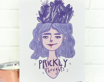 Prickly Thoughts Digital Illustration A4 Print
