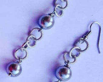 Aluminium bead Silver earrings