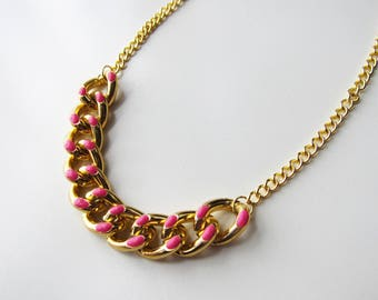 Pink enamel and gold chunky chain necklace
