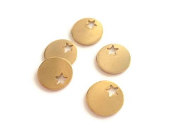 Sequins medal gold plated stainless steel star charms 6 12.5 mm