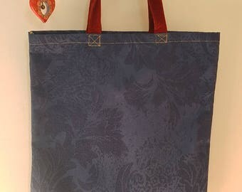 """The """"Briony"""" tote bag navy with red corduroy strap"""