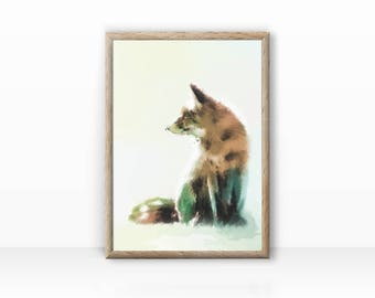 Fox illustration, animal portrait, print