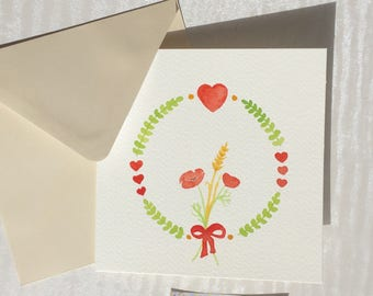 Bouquet of poppies in red/green/yellow watercolor card