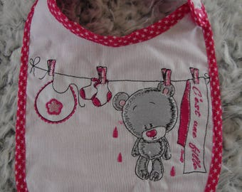 """Baby bib embroidered """"it's a girl"""""""