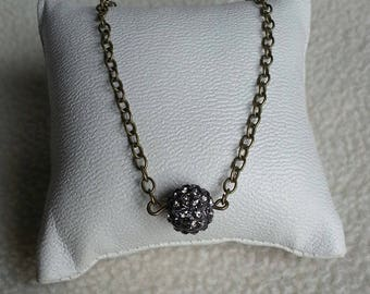 grey rhinestone Pearl bronze chain necklace
