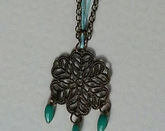 mid-long necklace bronze engraving and turquoise