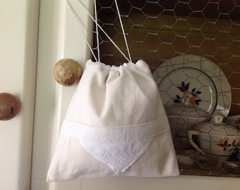 Pouch made from old linen, handmade embroidery