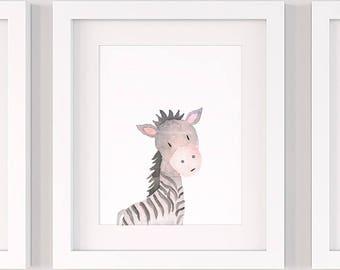 Zebra nursery print, PRINTABLE nursery wall art P135