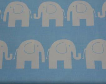 100% cotton fabric, white elefants