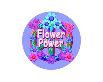 1 cabochon 30 mm glass Hippy Flower Power - 30 mm